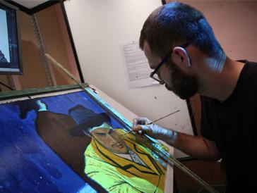 Malen wie zu Van Goghs Zeiten: Einer der 125 Maler bei der Arbeit