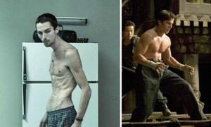 """Das wohl krasseste Beispiel von Gewichtsverlust, das man sich aber keinesfalls zum Vorbild nehmen sollte, ist das von Christian Bale. In """"Der Machinist"""" (2004) verkörperte er einen schlaflosen Industriearbeiter (links im Bild). Für die Rolle nahm er innerhalb von vier Monaten unglaubliche 28 Kilos ab, indem er pro Tag nur einen Apfel, eine Dose Thunfisch und Salat ass. Nur ein Jahr später, im Jahr 2005, spielte er in """"Batman Begins"""" den legendären Batman - und legte dafür 45 Kilos an Muskelmasse zu (rechts im Bild)."""